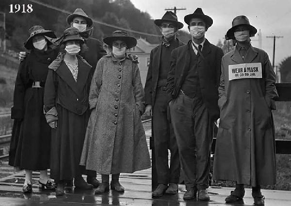 1918-1919 Masques épidémie de grippe espagnole