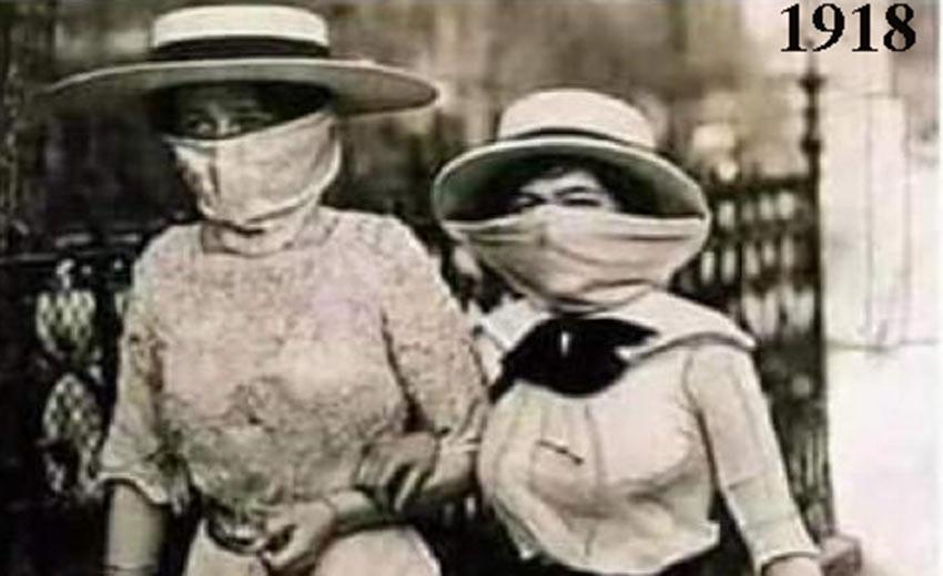 1918-deux élégantes au visage masqué par un voile se protège de la grippe