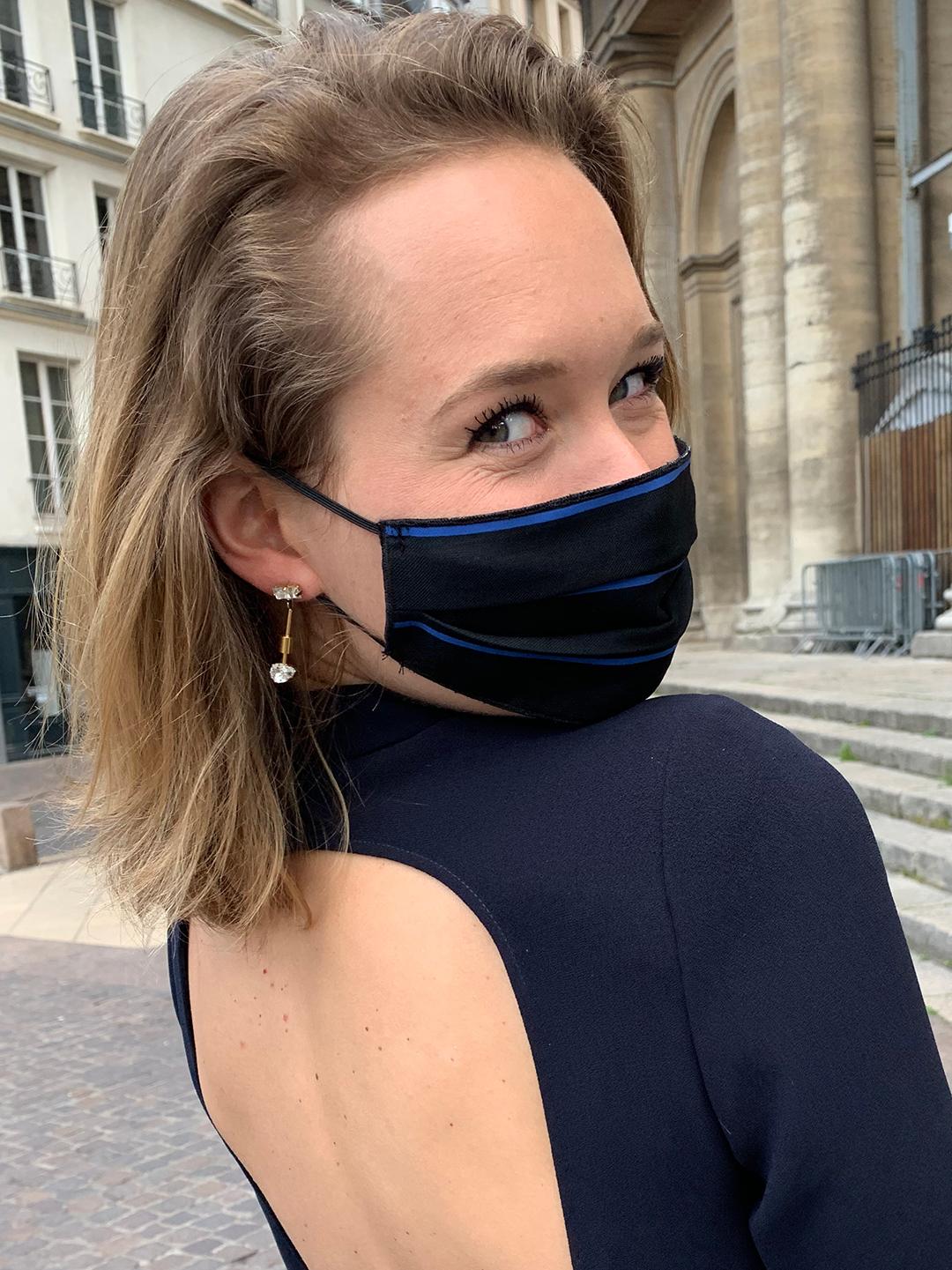 Masque de Protection Noir Rayé Bleu femme