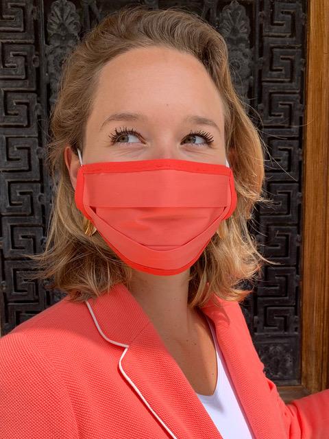 Masque de Protection Recto Corail / Verso Blanc Gansé Corail