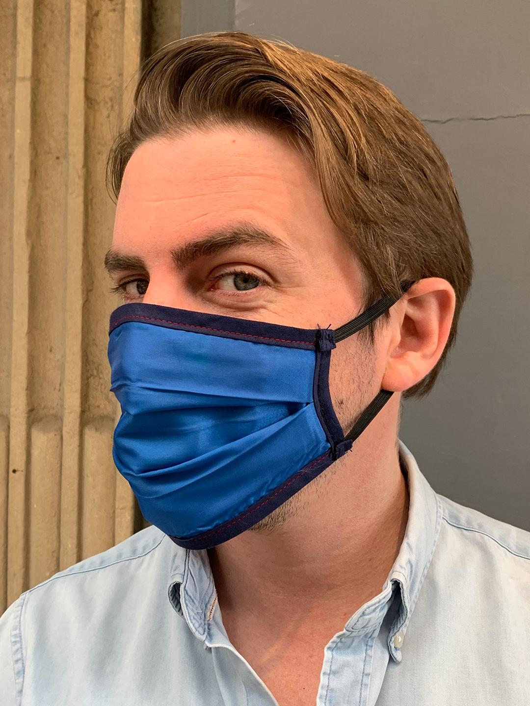 Masque de Protection Verso Bleu Roi Gansé Nuit