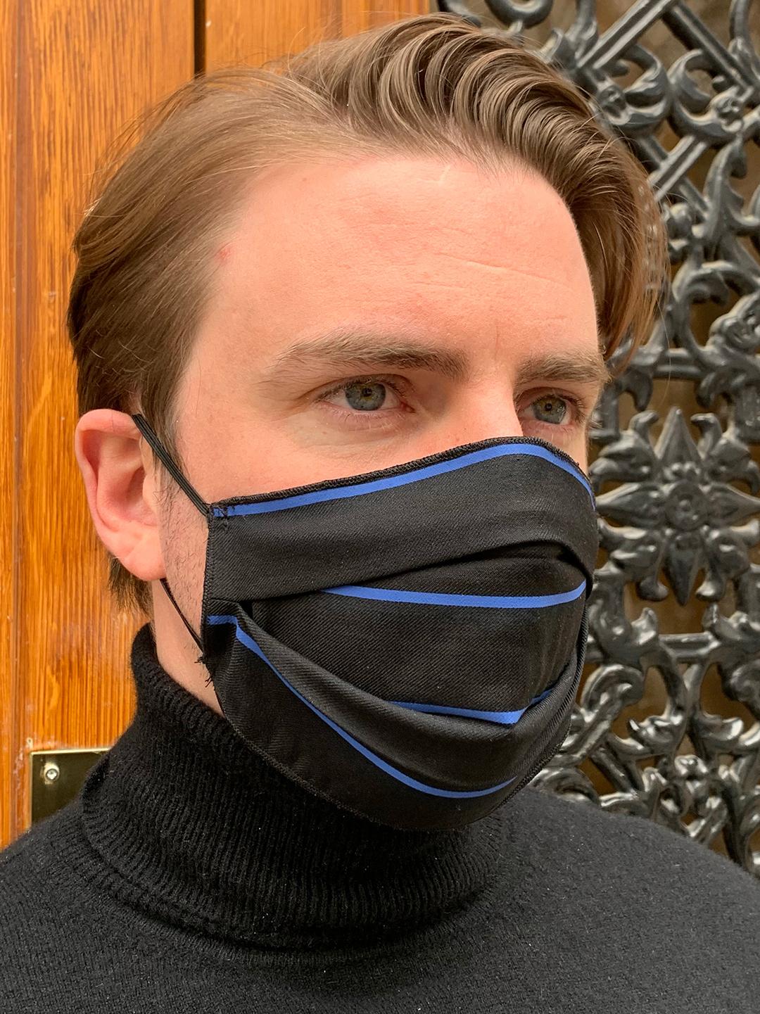 Masque de Protection Noir Rayé Bleu homme