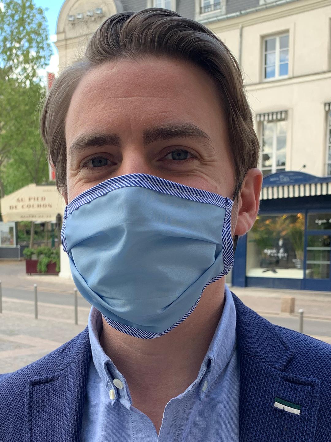 Masque de Protection Verso Bleu Ciel Gansé Rayé Homme