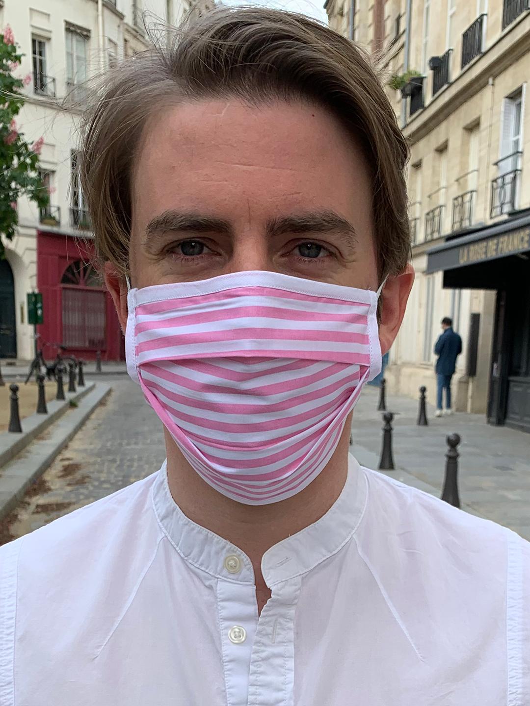 Masque de Protection Recto Rose Rayé Blanc Large