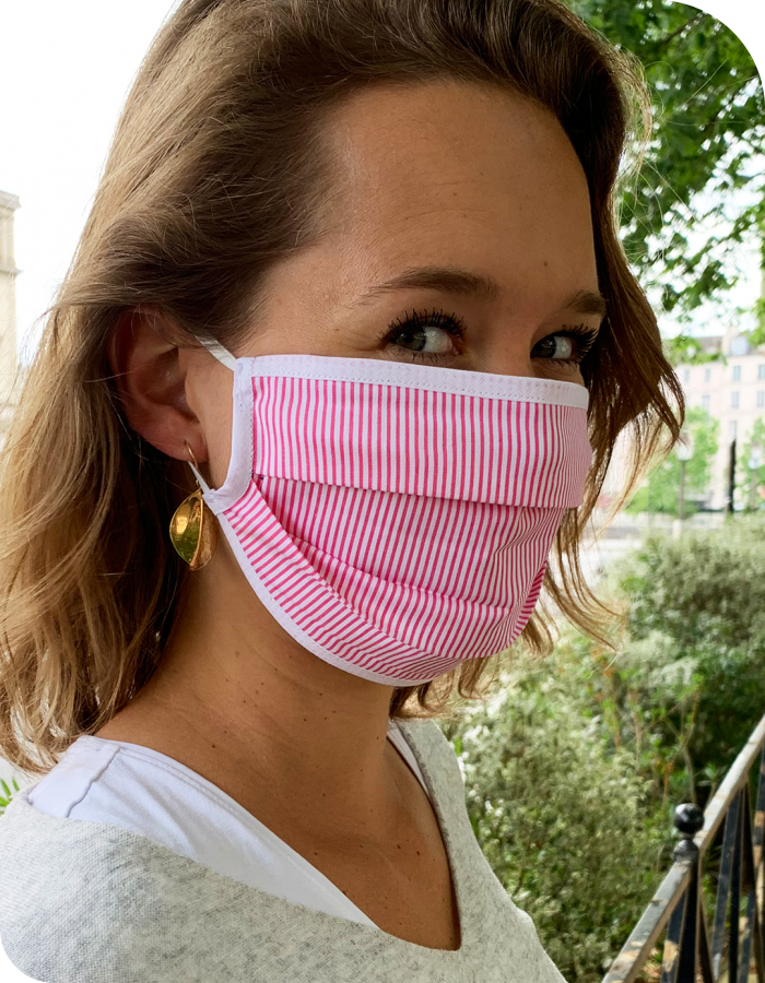 Masque de Protection Recto Fines Rayures Roses