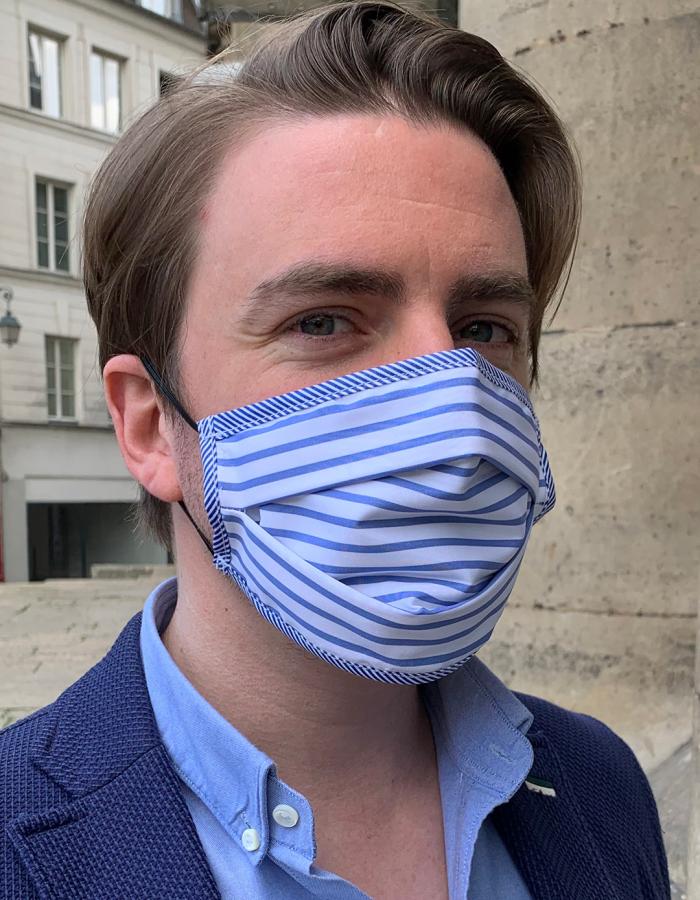 Masque de Protection Recto Blanc Rayé Bleu Recto Homme